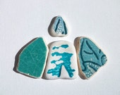 RESERVED for Pam,Patterned sea pottery,Pendant /ring sized beach pottery,Ornamental pattern,Petrol Green and blue beach pottery