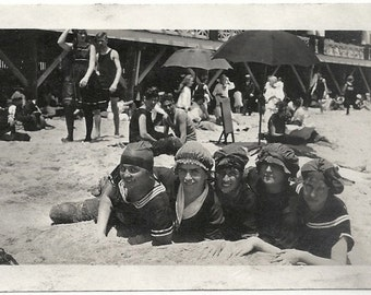 Old Photo Women at the Beach wearing Swimsuits and Caps 1910s Photograph Snapshot vintage