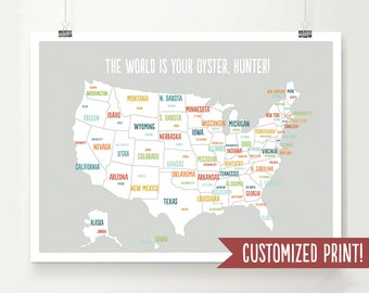 Customized USA Map, USA Map Art, USA Map Poster, Usa Map Print, Personalized Map, Travel Art, Travel Decor, Wedding Gift, Baby Shower