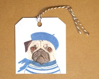 French Pug Gift Tags: Set of Six GIFT TAGS