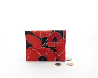 Small red wallet, red zipper coin purse, red flower wallet, red poppy wallet, red snap closure wallet, mini wallet, red cardholder