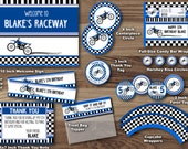Dirt Bike Party Package- Motocross Birthday Party Package - Motorbike Party Pack - Dirtbike Checkered Flag Blue Printable Boy Personalized