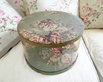 VINTAGE HAT BOX - Muted Flowers - Green Gray Floral Fabric - Clear Plastic - Shabby Cottage Chic - Pretty Storage