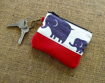 Leather & Cotton Coin/Card Purse - Elephant