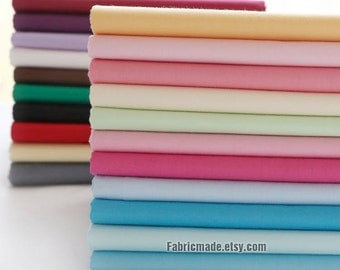 Sales- 40 Colors Solid Cotton Fabric Blue Pink Yellow Fabric Cotton Baby Quilting Clothes Lining Fabric-  1/2 yard