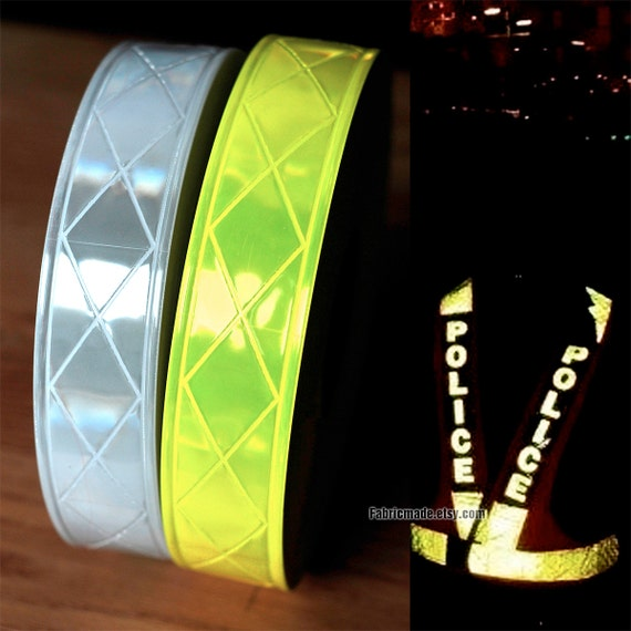 5cm Width Reflective Tape Fabric, Firefighter Radio Strap, Caution Tape in Silver Fluorescent Yellow- One Yard