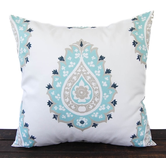 Seafoam Blue Decorative Pillows : Items similar to Throw pillow cover Canal blue sea foam taupe white cushion cover Damask ...