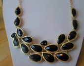 SALE Bib Necklace with Black Teardrop Pendants on a Gold Tone Chain