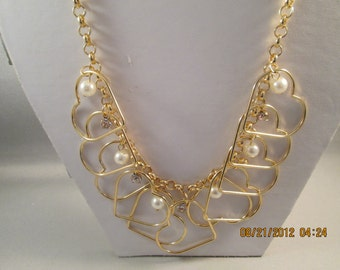 SALE Gold Tone Chain Necklace with Gold Tone Heart Pendants, White Pearls and Clear Rhinestones