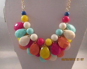 4 Row Bib Necklace with Multi Color Teardrop Pendant Beads on a Gold Tone Chain