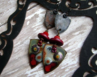 The Red Royal, assemblage earrings, shield earring, assemblage, mixed media jewelry, torch fired enamel, boho chic, bohemian, AnvilArtifacts