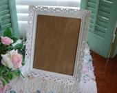 White filigree frame 8x10 frame wedding decor jewelry tray shabby white metal frame antique frame painted white