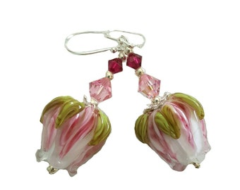 Pink and white rose bud lampwork bead earrings with green leaves. Beautiful pink and Ruby red Swarovski Crystals, Sterling Silver