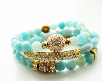 Amazonite Gemstones and Gold Pave Stackable Beaded Bracelets
