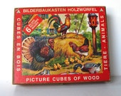 Reserved for Ruta, Vintage Bilderbaukasten Holzwurfel wooden Picture Cubes, Wooden box, Farm Animals, Made in Germany, Nursery Decor