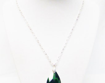 Crystal Faceted Green Glass Teardrop Pendant Necklace