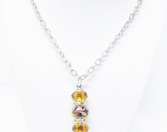 Gold w/Brown Big Hole Bead Pendant Necklace