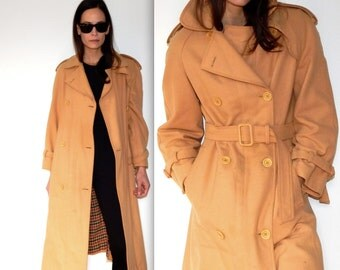 trench coat vintage 60s wool coat tan trench coat warm coat long trench coat mid century mod jacket undercover detective belted coat size L