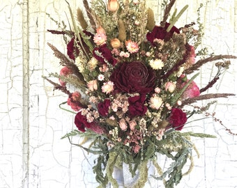 Victorian Bridal Bouquet Wedding Dried Flower Burgundy Blush Pink Gold Ivory Peony Spray Rose Cockscomb Love In Mist Strawflower