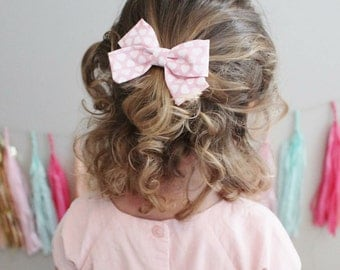 Baby / Girls// Valentine's Day Bow Headband OR Hair Clip, Pink and White Heart Hair Bow by Charlie Coco's