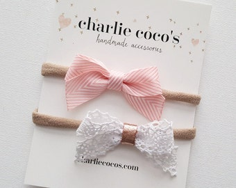 "Baby / Girls Bow Headband Set // Hair Clip Set // Baby Bow Gift Set by Charlie Coco's ""Lacey"""