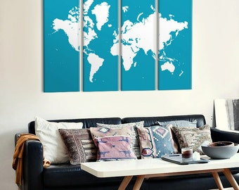 World map canvas art - custom colours, large wall map on 4 panel canvas, home interior decor