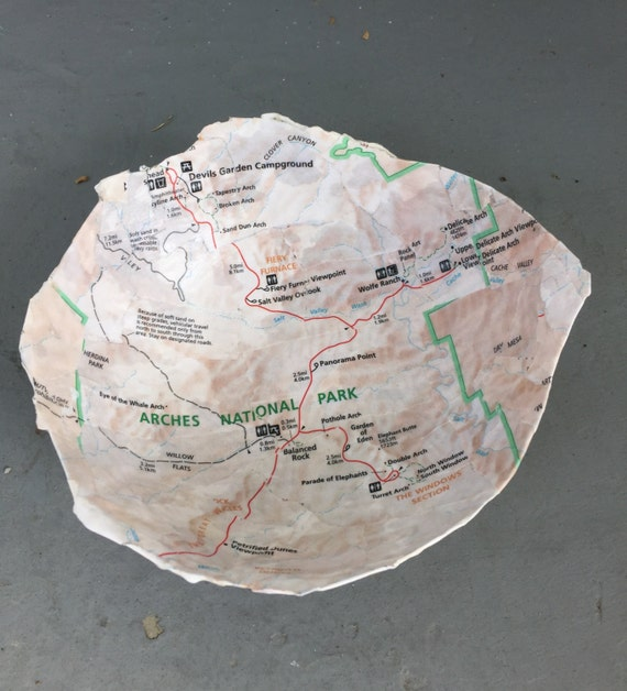 Handmade Paper Mache Bowl - Map of Arches National Park