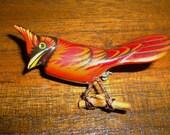 Vintage Takahashi Red Bird Pin (cardinal?)