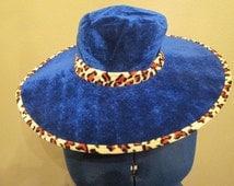 Blue Velour Wide Brim Hat Leopard Spot Trim Costume Decor Pimp Hat Mod Disco Unisex No Gender Adult Novelty Accessory