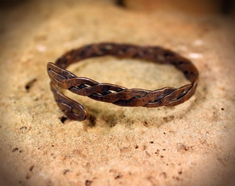 Aged Woven Copper  Bracelet Bangle