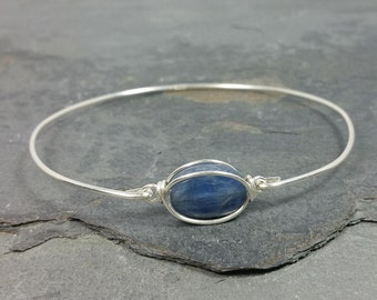 Kyanite Bangle Bracelet - 925 Sterling Silver - Gemstone Bridal Jewelry NEW