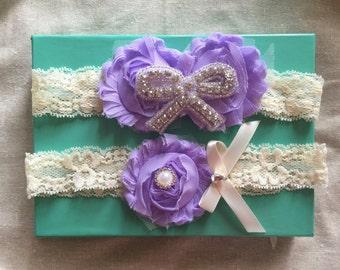 Lavender/Ivory  Lace Garter Wedding Garter Set/ Bridal Garter Set.