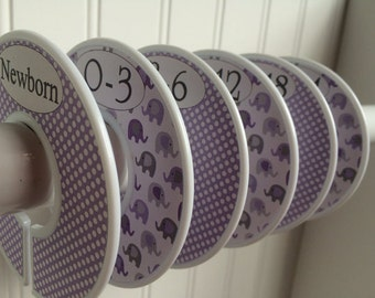 6 Baby Closet Dividers Girl Clothes Dividers Closet Organizers Clothes Organizers Purple Gray Elephants