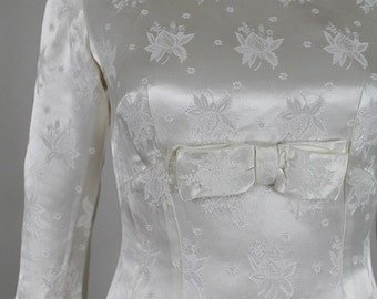 1950 french wedding gown ivory damask satin small