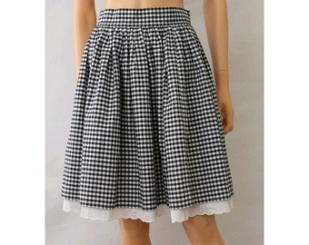 Riviera french vichy gingham skirt cotton and open lace medium