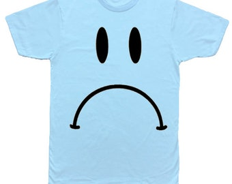 Sad Face, 90s Smiley Baby Blue T-Shirt