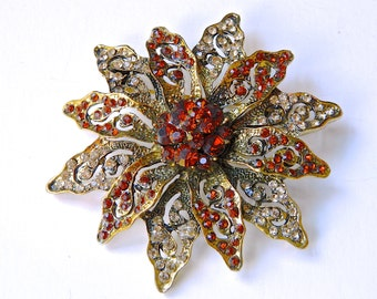 Vintage Rhinestone Flower Brooch Pin Large Art Deco Crystal Rhinestones Garnet and Diamond Outrageous
