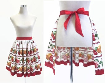 Cherries Apples And Pears - Vintage Half Apron - Cute Retro Kitsch Pinny - Prova Kitchen Linens