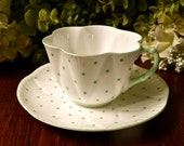 Shelley Fine Bone China Tea Cup and Saucer, Mint Green Raised Dots On White, England