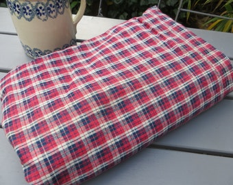 "Free Shipp Antique Hand Woven Red  White Blue Handwoven  Linen Duvet Cover Plaid Coverlet Bedspread Fabric Unused 59 "" by 69 "" Germany 1870"