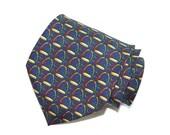 Blue Necktie, Paolo Gucci Vintage Necktie, Dark Blue Tie, Vintage Necktie, Silk Tie, Men's Neckwear, Extra Long Necktie, Made in the USA