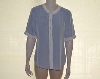 Light Blue Women's Shirt, Size 10, Button Up Blouse, JH Collectibles Vintage Blouse, Ladies' Shirt, Short Sleeved Blouse, Baby Blue Blouse