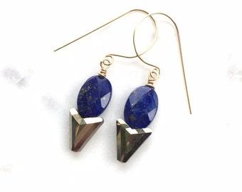 lapis lazuli + gold pyrite flecks | Swarovski golden crystal arrows | gold vermeil | dainty dangle earrings | handmade jewelry | gift ideas