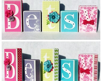 Spring/Floral personalized blocks