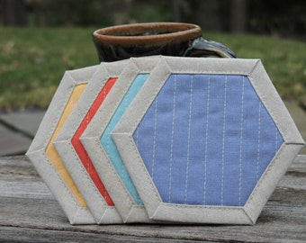 Mug Rugs, Drink Coasters, Hexagons, Set of 4, Linen Coasters, Periwinkle, Aqua, Coral, Yellow, Gift Exchange Idea, Hostess Gift