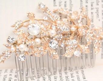 Bridal hair comb rose gold,Wedding hair comb pearl,Wedding hair accessories,Bridal hair piece,Wedding headpiece,Bridal comb Rose gold,pearl