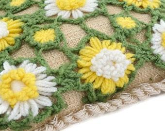 Vintage Crochet Daisy Pillow - Green Yellow Pillow - Decorative Pillow - 70s Decor - Boho - Hippie Chic - Glamper - Free Shipping - 8ATT16