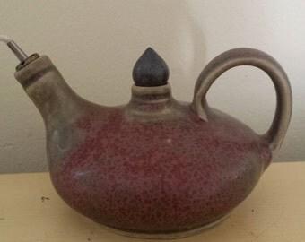 Vintage Pottery Oil Lamp w/Handle, Rustic, Aladdin Shape, Unusual