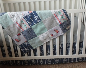 Bumperless Crib Set in Mint, Navy and Gray