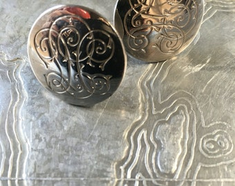 Vintage Cuff Links Etched Silver Cuff links